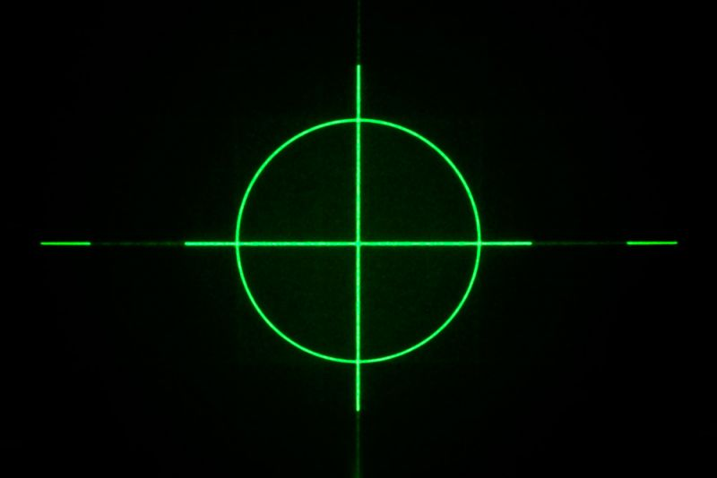 "Positioning laser module 10mW GREEN ""cross hair"""