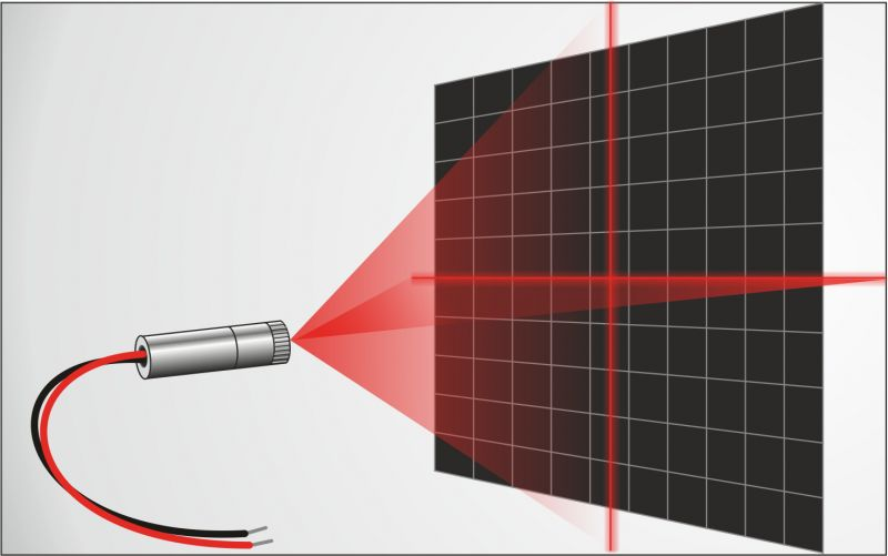 Cross laser set BRIGHT RED 100mW, adjustable, incl. mount