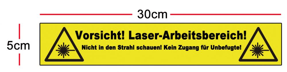 Laser safety area sticker 300 x 50mm, in German