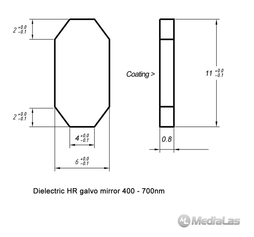 Galvo mirror 6x11x0.8mm dielectric broadband 400-700nm